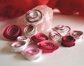 5 Ranunculus/Rose  Cardstock Paper Flowers- Small - Red or White
