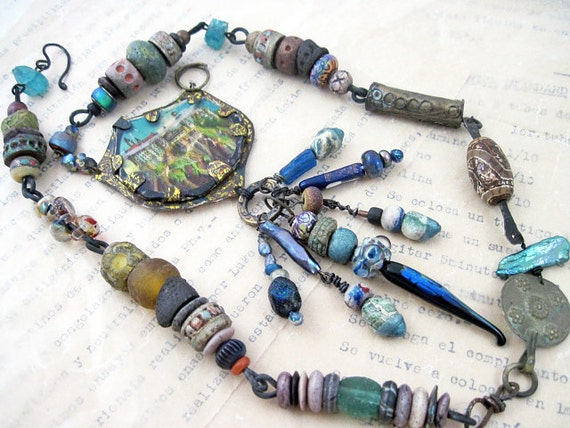 The Once-Upons. Rustic assemblage statement necklace with magic lantern slide, art porcelain beads, blue teal aqua turquoise.