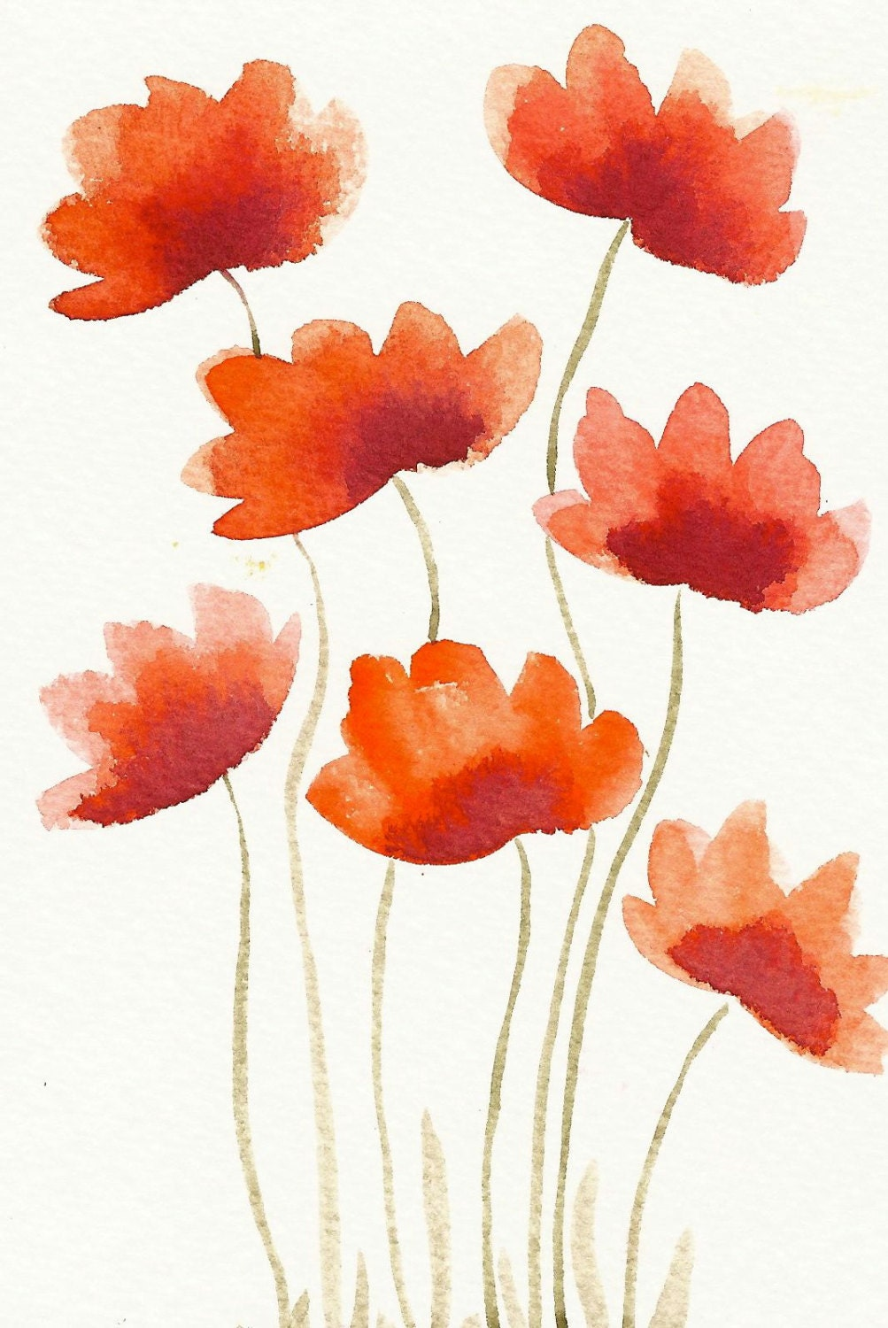 Red Flowers Original Modern Watercolor Painting By