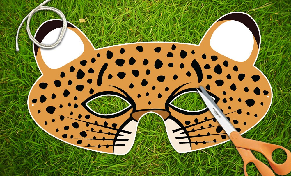 cheetah face mask template - cheetah printable pdf childrens party mask halloween mask