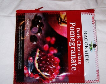 Eco Friendly Change Purse Wallet Snack bag made with Recycled Dark Chocolate Pomegranate bags