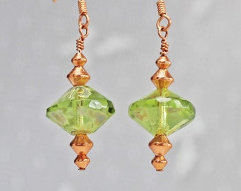Peridot and Copper Dangle Earrings - Large Czech Glass Saucer Beads - Copper Bicone Beads - French Hook Earwires