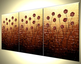 """Original Flowers Abstract Impasto Gold Red Roses Poppies Painting, Textured Palette Knife Art by Lafferty - 24""""x54"""" -  2 feet x 4 1/2 feet"""