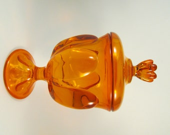 Vintage Viking Glass Candy Dish with Lid Pedestal Base Orange Glass Apothecary Jar