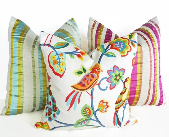 Colorful Bird Throw Pillows : Fun Bird Throw Pillows Bright Vivid Colors by PillowThrowDecor