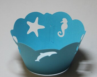 Down by the Sea Cupcake Wrappers -- Set of 12