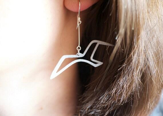 Bird Earrings, Silver Grey Sea Gull Jewelry for Bird Lovers