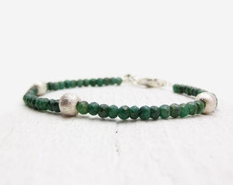 Faceted Emerald Bracelet, Sterling Silver Genuine Emerald Green Birthstone Bracelet, Israeli Cut Emerald Bracelet, Emerald Gemstone Bracelet