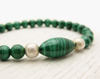 Emerald Green Malachite Bracelet with Sterling Silver / woodland forest green / fresh green trees inspired / vintage African malachite