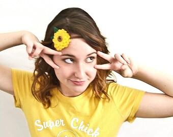 Boho Sunflower Headband for Women, Felt Sunflower, Girls Headband, Boho Headband, Woodland Headband, Nature Girl, Yellow Brown