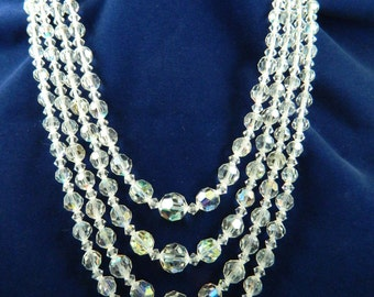 Vintage Aurora Borealis 4 Strand Crystal Necklace Graduated