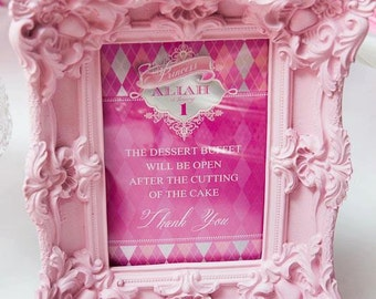 PINK ARGYLE PRINCESS Printable Party Welcome / Dessert Table Sign