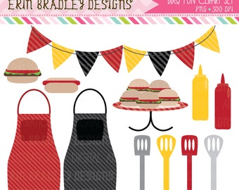 BBQ Picnic Clipart Commercial Use Clip Art Graphics Instant Download