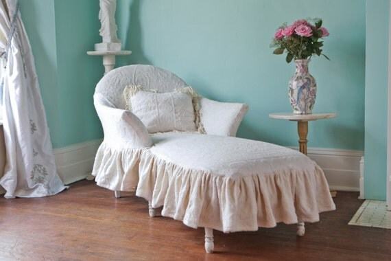 listing for shazmeen malik chaise lounge shabby chic ivory. Black Bedroom Furniture Sets. Home Design Ideas
