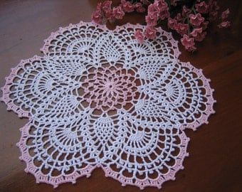 Crochet pineapple designed, pink and white doily, new