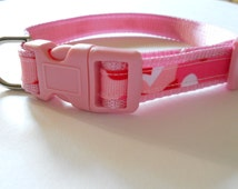 Pink, Red and White Camouflage Dog Collar, Girl dog collar, camouflage collar