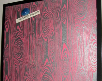 PINK Grain.. Magnetic Dry Erase Steel Memo Board / Office Decor / Organization / Housewarming Gift / Message Board / Desk Accessories / Wall