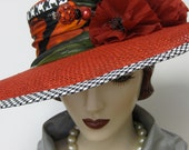 Widebrim Capeline Hat with Poppies