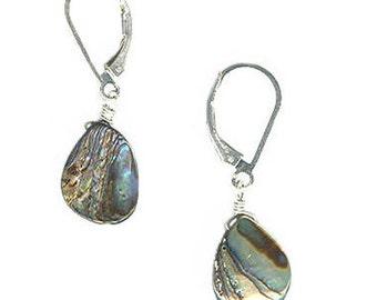 delicate abalone teardrop sterling silver gold-filled lever back earrings pierced non-pierced