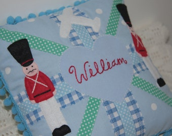 BOYS UNION JACK Cushion Pillow with persoanlised name and applique - Custom Made To Order