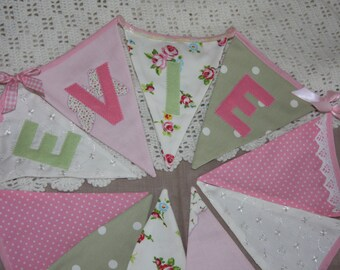 BELLA BUTTERFLY with ribbons and buttons Banner Bunting Handmade in Pink  and Green Photo prop Custom made to order can be Personalized