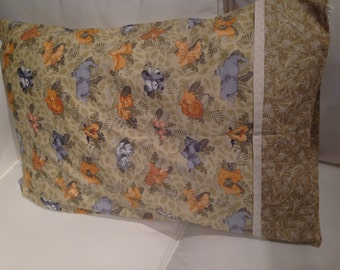 Pillowcase with zoo animals from Elephants to Kangaroos to Ducks