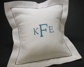 Three Initials Monogram Embroidered Hemstitched White Linen Cotton Blend 12x12 Pillow