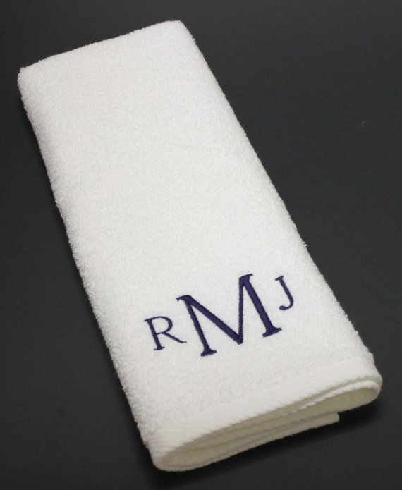 Three Initials Monogram Embroidered Terry Hand Towel