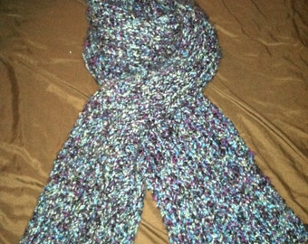 Hand Knit Scarf made with WARM, SOFT machine washable yarn