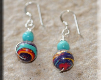 Turquoise and Glass Bead Earrings