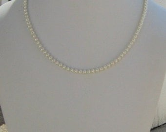 Bridal Necklace, Small Pearls, Bridesmaids Gift, Mother of the Bride, Dainty Pearls, Flower Girl Necklace, Lily of the Valley