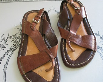 Leather Casuccio and Scalera Vero Cuoio Sandals Size 38 Awesome Pair