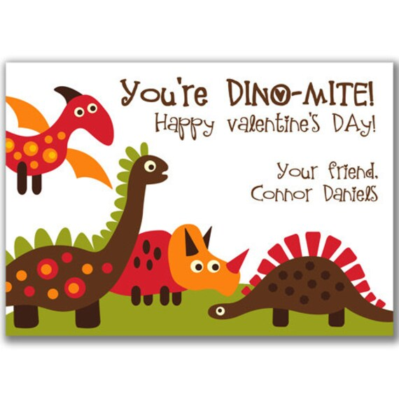 Items Similar To Dinosaur Valentine's Day Cards For Kids