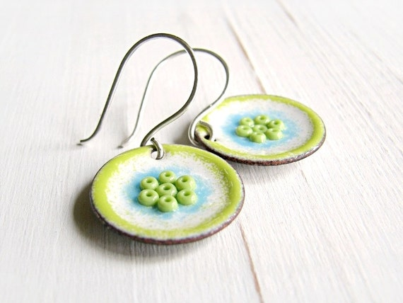 Enamel Earrings, Lime Green, White  And Blue, Copper And Sterling Silver - Lovely Day
