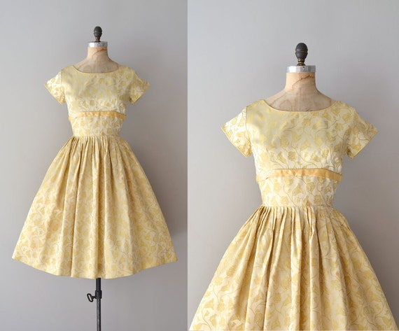 1960s dress / 60s party dress / Limoncello brocade dress