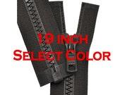19 inch Vislon Jacket Zipper YKK 5 Molded Plastic Medium Weight  Separating - Select Color