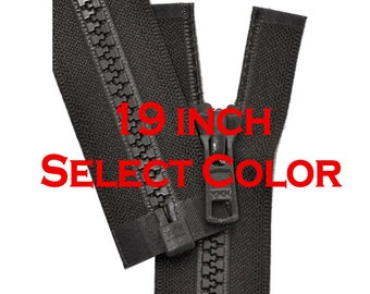 19 inch Vislon Jacket Zipper YKK 5 Molded Plastic Medium Weight  Separating - Select Color