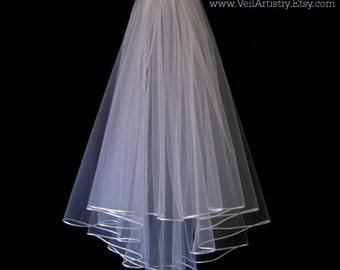 Bridal Veil, Radiance Veil,  2 Tier Bridal Veil, Satin Cord Edge Veil, Corded Veil, Made-To-Order Veil, Handmade Veil