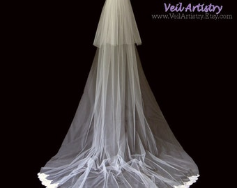Wedding Veil, Cathedral Veil, Teardrop Classic Veil, 2-Tier Bridal Veil, Alencon Lace Veil, Cut Edge Veil, Made-to-Order Veil, Bespoke Veil