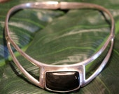 Sterling Silver signed Onyx Collar Necklace VINTAGE and GORGEOUS