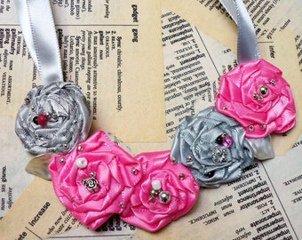 Pretty Beaded Rosette Necklace...Silver Grey Satin and Pretty Pink Rosettes with bead accents