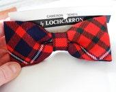 Vintage tartan bow tie Lochcarron Scottish red blue green clip on tie