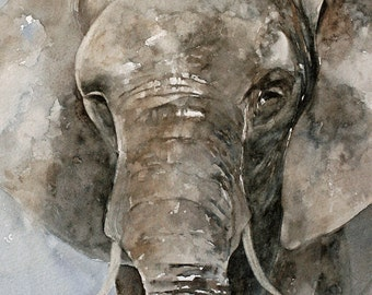 poster elephant poster kid wall art painting watercolor painting elephant PRINT SET animal  africa wall art boy nursery art giraffe 11x14