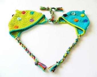 SALE ORGANIC Cotton Big Sister Girl Little Brother Baby Boy Hats Set 1 2 3 years 3 12 24 months newborn toddler Earflap Crochet Matching