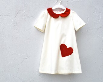 Girls Dress with Red Velvet Heart and Peter Pan Collar - Valentines Day Fashion (Sizes 2t 3t 4t 5t 6t)