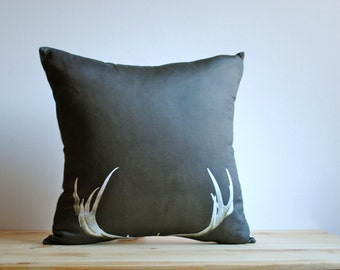 Organic Photo Pillow in Brown- Deer Antlers Pillow, Organic Throw Pillow, Rustic Home Decor