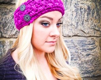 Women's Head Wrap with Buttons Handmade Crochet