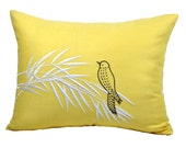 Lumbar Throw Pillow Cover, Bird Pillow Case, Yellow Linen Brown Bird embroidery, Bird Decoration, Modern Contemporary Pillow Sham