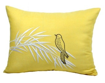 Lumbar Throw Pillow Cover, Bird Pillow Case, Yellow Linen Brown Bird embroidery, Bird Decoration, Modern Contemporary Pillow Sham