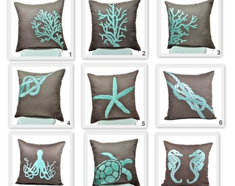 Nautical Pillow Cover Set of 2, Taupe Brown Linen Turquoise Nautical Embroidery, Nautical Decor, Cottage Beach Decor, Mix match pillow,